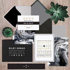 Wedding Invitation // Wedding Ideas //  Modern and minimal wedding: gery, black and white