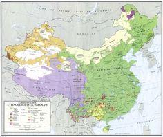 Ethnolinguistic Groups of China, 1967 #map #demography #china