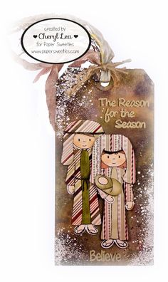 Ink Up: Christmas Tag/Bookmark made with Paper Sweeties stamps and dies: Abigail, Jake, Reason for the Season, and Do You See What I See.