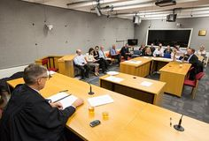 The scenario was played out in a mock courtroom, used for the training of legal professionals.