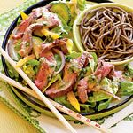 Skip the grated cheese and croutons and serve an Asian-inspired salad with homemade seven-ingredient vinaigrette. Serve with soba noodles, followed by dessert.