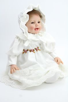 22Inch Soft Silicone Reborn Baby Dolls Realistic Lifelike Newborn Babies for Girls White Dress Vintage Baby Kids Christmas Gifts