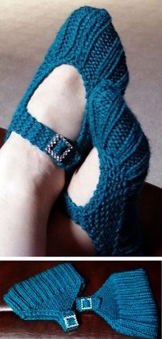 Free Knitting Pattern for Easy Pocketbook Slippers - Great for beginners! These very easy slippers are knit flat and seamed and get their name because they fold into a portable pocketbook shape. You just need to know how to knit, purl, increase, and decre