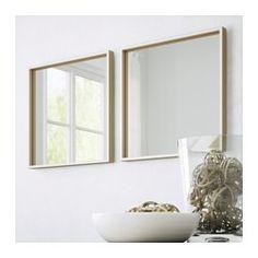 SKOGSVÅG Mirror, white, beech veneer - white/beech veneer - IKEA