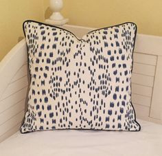 Brunschwig and Fils Les Touches - Blue Animal Print Designer Pillow Cover with Navy Piping- Square, Lumbar, and Euro Designer Pillow Covers