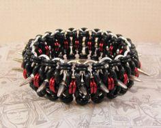 Bohemian Spike Bracelet in Black, Red & Silver - Edit Listing - Etsy