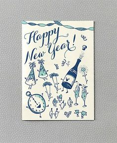 Vintage New Years card: I love the vintage style little characters!  I want to draw some now...