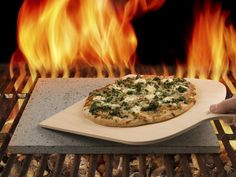 Prepare delicious stone-oven baked pizza on a pizza stone cut from the Mt. Etna volcano.