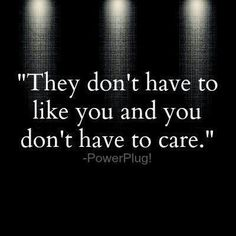 """""""They don't have to like you and you don't have to care."""" - PowerPlug!"""