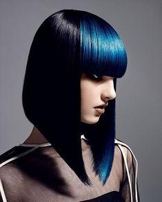 #bobhaircut #bobcut #haircut #hairstyle #hairfashion #shortbangs #bluehair #hairart #fashionista #fashion #style #trend #trendy #art #invertedbob #darkhair #blueandblack #dipdye #diphair #cool #colorful #moda #longbob