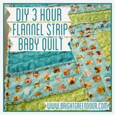 Bright Green Door Blog: DIY 3 Hour Flannel Strip Baby Quilt
