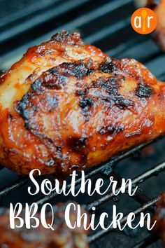 This simple recipe for deliciously tender, Southern barbequed chicken will have your guests coming back for seconds, thirds, and fourths. Dinner Dishes, Dinner Menu, Dinner Recipes, Wedding Dinner, Main Dishes, Bbq Chicken Marinade, Bbq Chicken Nachos, Southern Bbq Chicken Recipe, Chicken Recipes