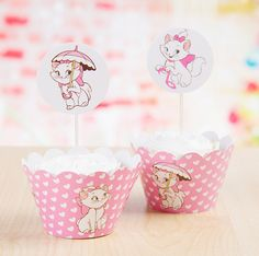 Free Shipping Marie Cat cupcake wrappers cake cups picks toppers baby shower girls birthday party kids decorations supplies(China (Mainland))