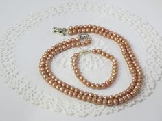 handmade double strand pink  genuine freshwater pearl necklace and bracelet  #Handmade #StrandString