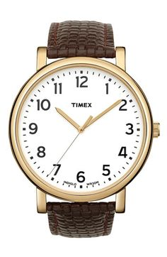 Simple and classic.'Easy Reader' Leather Strap Watch.