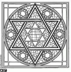 Jewish geometric ornament on the basis of the Star of David