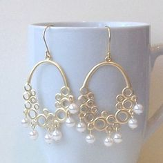 Pearl Chandelier Earrings Pearl Fashion Jewelry by PeriniDesigns