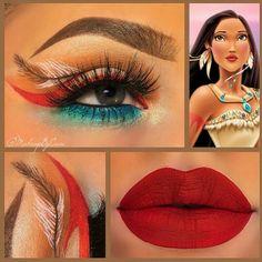 Pocahontas make up - Makeup Looks Korean Pocahontas Makeup, Disney Eye Makeup, Disney Inspired Makeup, Disney Princess Makeup, Eye Makeup Art, Makeup Inspo, Makeup Inspiration, Pocahontas Cosplay, Makeup Ideas