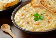 This tasty comfort food, Homemade Split Pea Soup will satisfy on those chilly days. Homemade Split Pea Soup Recipe from Grandmothers Kitchen. Crockpot Ham And Potatoes, Cooking Ham In Crockpot, Ham And Potato Soup, Crockpot Recipes, Soup Recipes, Cooking Recipes, Diced Potatoes, Yellow Split Pea Soup, Breakfast