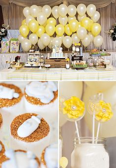 rustic baby shower with yellow theme | Baby Lamb Themed Shower {Gender Reveal Party} // Hostess with the ...