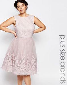 Chi Chi London Plus Premium Embroidered Lace Tulle Midi Prom Dress plus size bride bridal