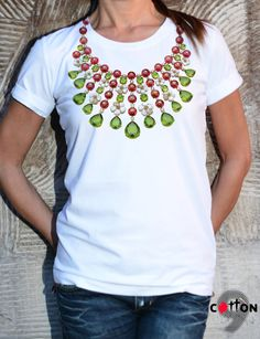 NEW Hand Printed Jewelry T-shirt / Woman Tshirt / by Cotton9