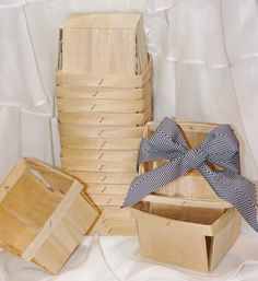 12 WOOD BerrY BASKETs - FarMerS MarKeT Crates  -Pie Slice Boxes - Weddings - Favors via Etsy