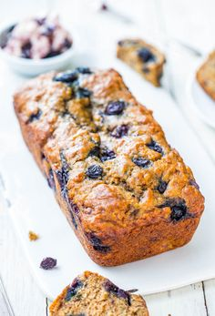 Brown Sugar Blueberry Banana Bread with Blueberry Butter - Blueberry coffee cake meets super soft banana bread! So good!