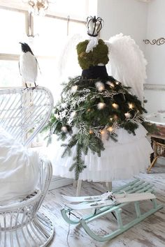 White tree dress with angel wings by Lana Schuster. Image via Heavens Rose Cottage Mannequin Christmas Tree, Dress Form Christmas Tree, Xmas Tree, Christmas Tree Decorations, Holiday Decor, All Things Christmas, White Christmas, Christmas Holidays, Christmas Crafts