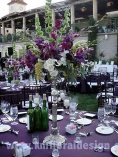 Purple and Green centrepiece