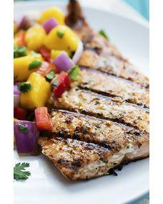 Grilled Salmon with Mango Salsa #salmon #fish #mango #food  #recipe