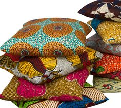 African Wax Fabric Pillows, I love the vibrant colors and bold patterns!
