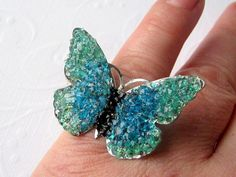 Butterfly Ring, Blue Butterfly, Butterfly Jewelry, Stained Glass Butterfly, Aquamarine Butterfly