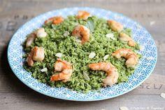 Crevettes+grillées+et+riz+au+pesto+d'épinard