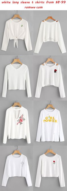 pure white long sleeve t shirts - romwe.com