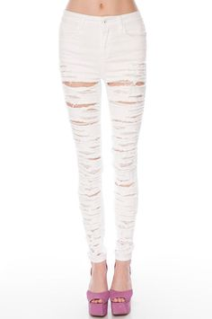 ...some destroyed white skinny jeans