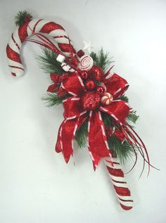 Large Candy Cane Swag Christmas Wreath by Ed The Wreath Guy #EdTheWreathGuy