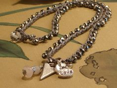 Look What Ive Made - Projects - Jewellary Making - Boho Chic Crochet 'LOVE' Charm Necklace, Bracelet