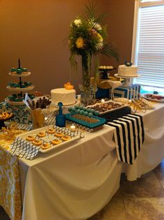 Yellow and Blue Dessert display/ pop of color