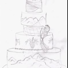 Sketch of my wedding cake. Rustic, elegant wedding.