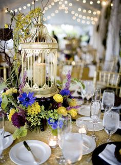 Birdcage as candle holders