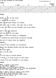 Garth Brooks song: I've Got Friends In Low Places, lyrics and chords