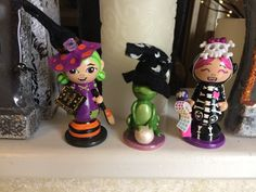 Halloween party cake topper decoration figurine peg people by KrissiesKrafts on Etsy
