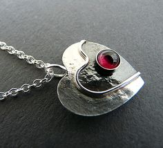 Sterling Silver Heart Necklace with Garnet  NG3 £39.00