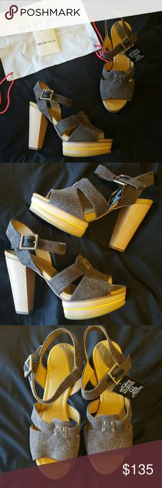 NWT and Box Chloe Summer Sandal with wood heel Size Euro 40.5, fits perfectly if you are a 10 to 10.5. I have the box, bag and card. Never worn. Color of linen is a dark grey with wooden heel, light yellow accent around wood platform. Super cute. Bought them and never wore them. Chloe Shoes Platforms