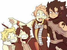 Sting, Rogue, Natsu, Gajeel | dragon slayers | laughing