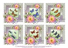 6 X Vintage Butterflies Roses & Lace Greetings Toppers