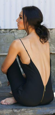Thin strap and back zip detail black dress
