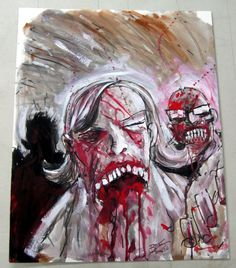Zombie Painting - Left Panel Comic Art