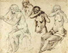 Jacques de Gheyn (ca.1565-1629) Four Studies of Women Braiding Their Hair